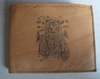 "Mankind Wallets Men's Leather RFID Blocking Billfold w/ ""Grizzly Bear Hunting"" Image~Makes a Great Gift!"