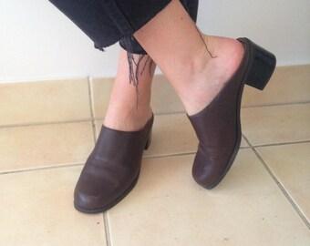 Vintage Slide Leather Mules Size 7