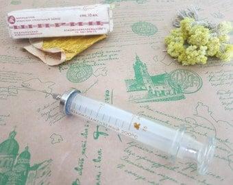 Glass syringe USSR, glass syringe, syringe, Old Glass Syringe, medical supplies, antique syringe, Reusable syringe,  antique medicine