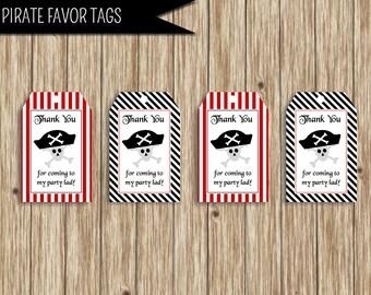 "Pirate Party Favor Tag Printable Digital Download: ""PIRATE FAVOR TAG"" favor tags with red, black, striped, pirate hat, skull printable"