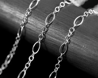 By The Inch Marquise Long and Short Argentium Sterling Silver 935 Chain 2.7 mm