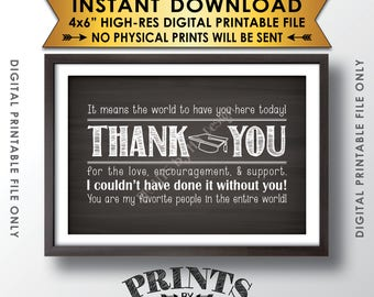 "Thank You Sign, Thank You Card, Graduation Party Decoration, Thanks from the Graduate Sign, 4x6"" Chalkboard Style Printable Instant Download"