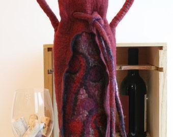 Burgundy Swirl Wine Tote Bag,Felted Wine Gift Bag,Wet Felt Wine Tote,Gift for Wine Lovers,Wet Felted Bag,Insulated Wine Tote,Felt Wine Bag