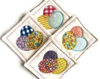 Quilted Easter Coasters - Set of Four; Easter Egg Coasters; Quilted Coaster Set; Easter Hostess Gift