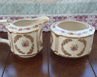 Sadler - Vintage Creamer and Sugar Bowl - Pink Roses and Gold Floral Wreaths and Pillars and Trim