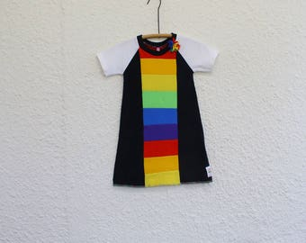 Rainbow Dress Girl's Size 4 made from Upcycled T Shirts , Recycled Tshirt Child's Rainbow Dress, Child's Raglan Sleeve Rainbow  Dress
