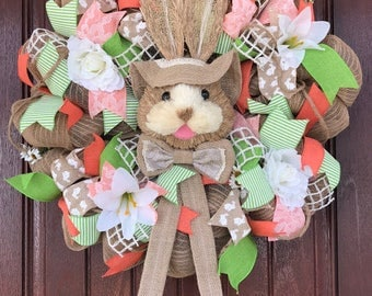 Easter Bunny Wreath, Easter Wreath, Spring Wreath, Deco Mesh Wreath, Ready to ship