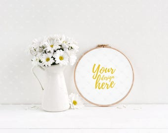 Embroidery hoop mockup / Styled stock photography / Instant download / #4080