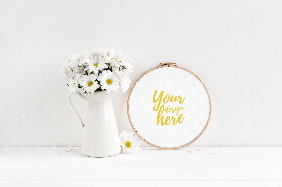 Embroidery hoop mockup styled stock photography