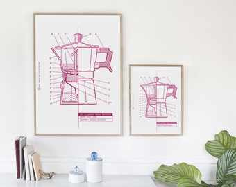 Coffee Maker Moka Express. Patent. Poster - Print  Icon design industrial. 15.75 in x 11.80 in