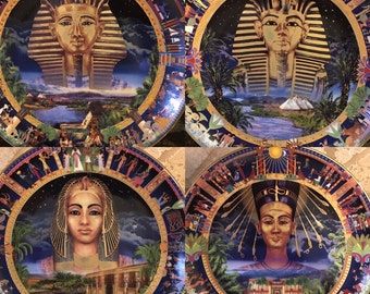 The Power of Ancient Egypt Plates ~ Set of FOUR (4) - Limited Edition ~ TUT, Ramses, Cleopatra, Nefertiti