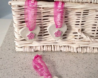 Handmade Clay Heart with Pink Dotty Button & Happy Birthday Ribbon (1)