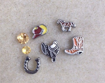 SET Floating Charms for Memory Lockets Western Cowboy Boot Horseshoe Saddle Hat Horse