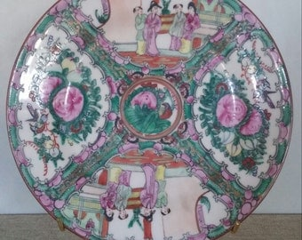 Vintage Famille Rose Medallion Plate Dish Chinoiserie Chinese Porcelain Asian Export Hollywood Regency Painted Hong Kong - 2 Available