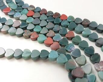 """Bloodstone, natural shaded 6mm lovely heart beads, 15.5"""" full strand, 70 beads, B-0012"""