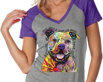 Ladies Beware of Pit Bulls Contrast V-Neck Shirt 20149NBT2-WJP0567