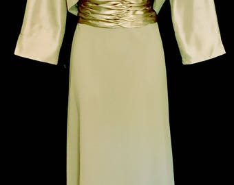 Pale Green Gown with Lace and Jacket                VG256