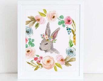 Rabbit Art Print, Printable Rabbit, Rabbit Watercolor Floral Art Print, Woodland Art Print, Instant Download, Digital Art, Woodland Nursery