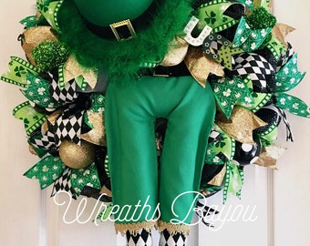 St. Patrick's Day Wreath Leprechaun Wreath with Legs Leprechaun Wreath Irish Wreath St. Patrick's Day Decor **MADE TO ORDER**