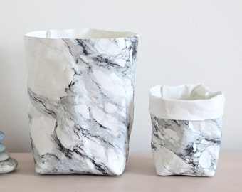 Marble pattern paper bag, washable paper pot, minimalistic, simple, desk organizer, office, display, planter, paper pot, card holder