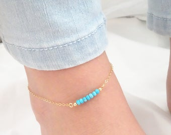 Turquoise anklet, Beach wedding jewelry, Bridesmaid gifts, Dainty Sterling Silver, Rose Gold or Gold fill anklet, Turquoise ankle bracelet
