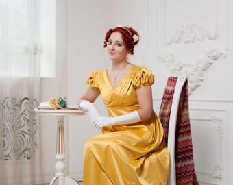 Yellow Regency Dress, Napoleonic Fashion, Regency High Waistline