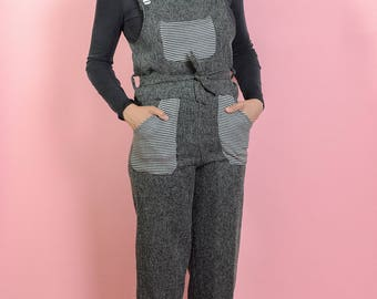 Vintage Handmaid Cropped Overalls Speckled Grey XS