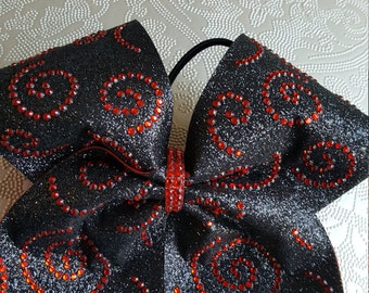 Curly Que Rhinestone Cheer Bow