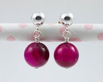 Pink fuchsia earrings, pink gemstone earrings, sterling silver ball earrings, drop earrings, semi precious gemstone earrings, agate earrings