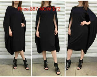 Black Extravagant Dress / Oversize Cape Dress / Fashion Elegant Dress / Unique Maxi Dress / EXPRESS SHIPPING