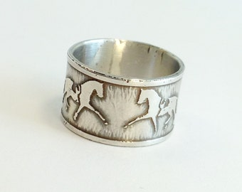 Cigar Band Ring, Equestrian Ring size 7, Horse Lover Gifts, Horse Jewelry, Dressage Jewelry, Handcrafted Ring