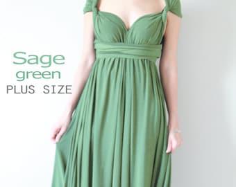 Plus Size Sage Green Bridesmaid Dress Maxi infinity Dress Prom Dress Convertible Dress Wrap Dress