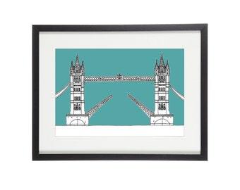 Tower Bridge Print | London Print | London Prints | London Illustration | City Prints | Architectural Print | Architectural Drawing