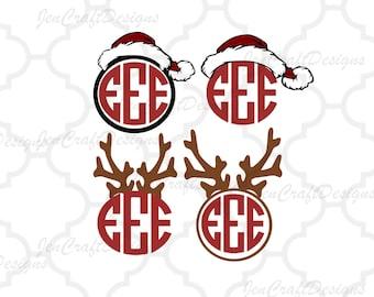 e5c23af94250a Santa Hat and Antler Monogram Reindeer Frame SVG EPS Png DXF