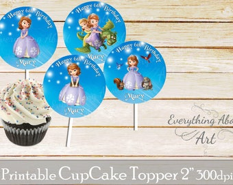 Sofia the first cupcake toppers printable, Sofia the first birthday, Printable cupcake toppers, Birthday party supplies, Cupcake toppers