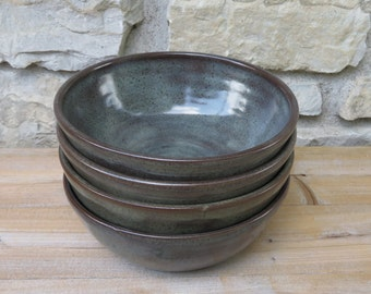 Pottery Bowls, set of four handmade pottery bowls in Iron Luste (blue grey) glaze