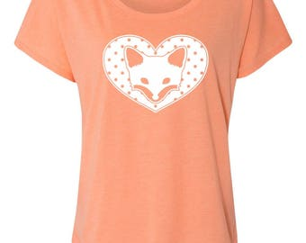 Dotty Heart Fox Design on Ladies Triblend Tees and Tanks