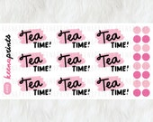 A492 | TEA TIME Stickers - words Daily Planner Stickers, Diary Stickers, Journal Stickers, Scrapbook stickers