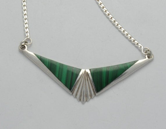 Malachite - silver necklace - geometric necklace - vintage necklace - collar necklace
