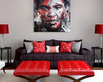 "Muhammad Ali, Original Oil Painting, 30"", 40"", 52"", Abstract, Palette Knife, Canvas, Boxer, Sportsman, Portrait, Athlete, Richard Day"
