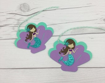 Mermaid Favor Tags, Under The Sea Favor Tags, Mermaid Bag Tag, Personalized Favor Tags, Aqua Favor Tags, Under The Sea Decorations, Mermaid