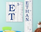 Growth Chart Ruler - Personalized Canvas Growth Chart, Growth Chart Navy, Wood Growth Chart Style, Boy Growth Chart - GC0113N_170