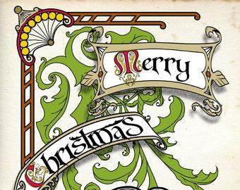 Original Christmas Card, Victorian style Christmas card, unique original art card by Marcel R. Dion, Steampunk Christmas card