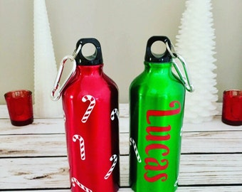 Christmas Personalized Candy Cane Aluminum Water Bottle, 20 oz. ,Name, Kids Gifts, Christmas Gifts, Holiday Gifts, Favors, Sports, BPA Free