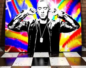 Eminem Canvas Painting - The Rap God - Slim Shady - Hip Hop Canvas - Hip Hop Painting- Eminem Painting - Street Art