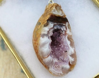 Amethyst Geode Necklace, Banded Agate, Crystal