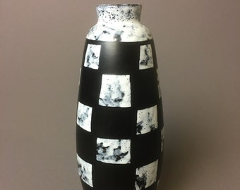 Black and White Checkered Tall Vase Mid Century Modern - East Germany