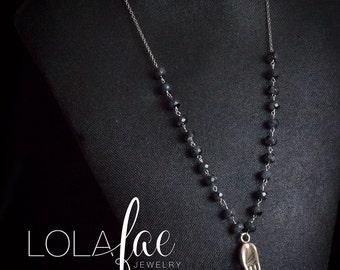 Silver mudra pendant/silver mudra necklace /hand charm necklace/black labradorite necklace /mudra and gemstone necklace by Lolafae