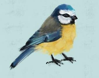Mini-Print, Birds of the Garden, Bluetit, 12,6x17,9cm, 300 g paper