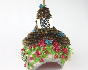 Pink Fairy House or Toad House Gourd and Pinecone